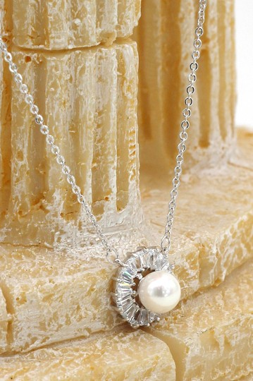 Ocean Fashion Silver Elegant Pearl Crystal Earring Necklace Set