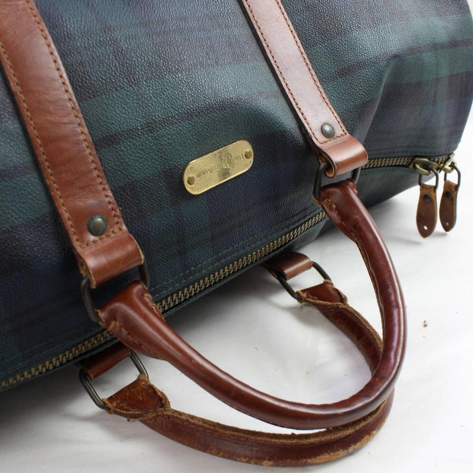 8edf9ed0953b Polo Ralph Lauren Plaid Boston Duffle 866763 Green Coated Canvas X Leather  Weekend Travel Bag - Tradesy