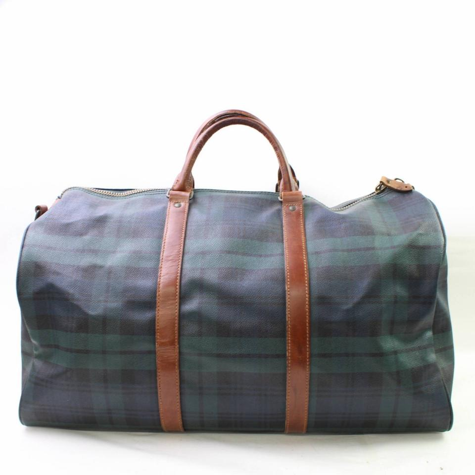 Polo Ralph Lauren Keepall Duffle Boston Burberry Nova Check Green Travel Bag  Image 8. 123456789 9a85486025e99