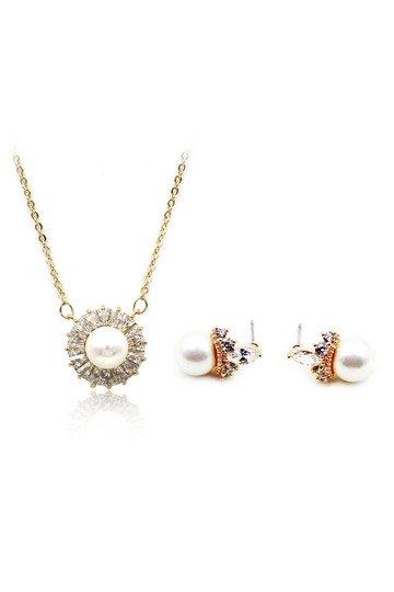 Ocean Fashion Gold Elegant Pearl Crystal Earring Necklace Set