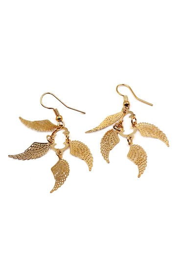 Ocean Fashion Fashion wings gold earrings