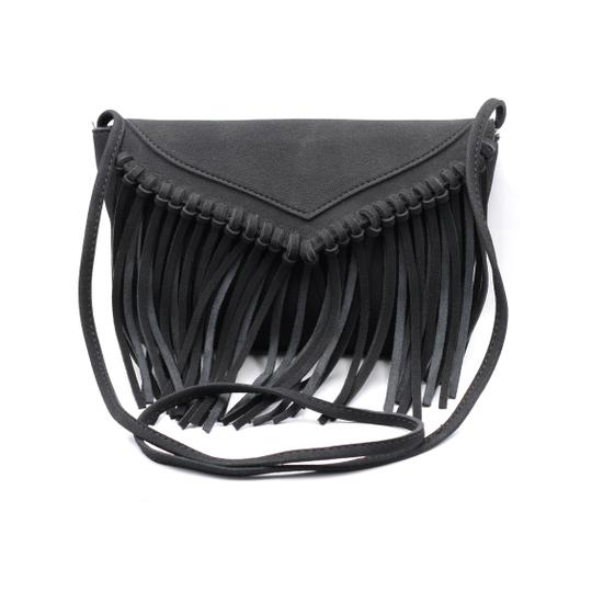 Preload https://item2.tradesy.com/images/fringed-suede-small-purse-black-faux-leather-shoulder-bag-23330711-0-0.jpg?width=440&height=440