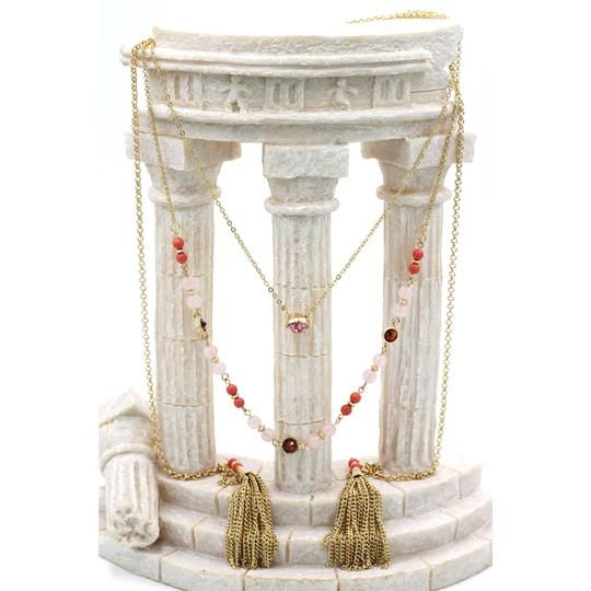 Ocean Fashion Fashion tassel golden crystal beads necklace