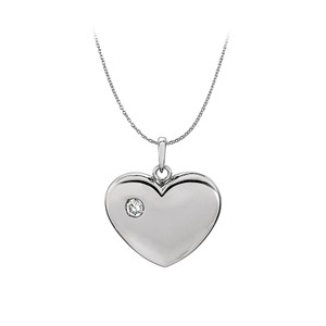 Marco B Diamond Heart Pendant in 14K White Gold with Free Chain