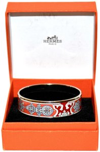 Hermès Hermès Paris Wide Printed Silver Bangle Bracelet, Size 62