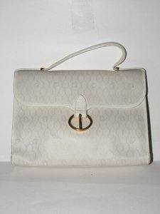 Dior Mint Vintage Two-way Style Satchel/Cross Body Ivory/Tan/Grey Satchel in ivory, tan, and greys in honeycomb print canvas and black leather