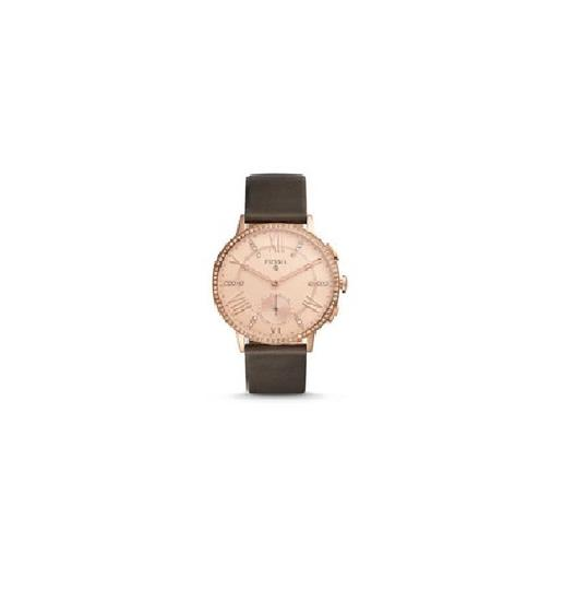Fossil Fossil Rose Gold Women's Gazer Gray Leather Smart Watch 41MM FTW1116