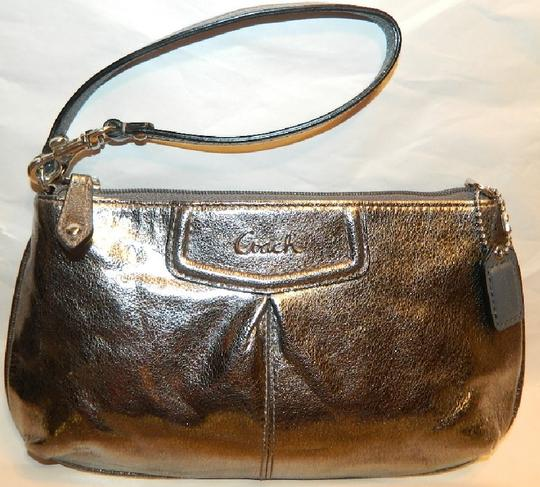 Coach Metallic Leather Ashley Leather Wristlet in Pewter/Silver