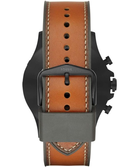 Fossil Fossil Q Men's Nate Dark Brown Leather Hybrid Smart Watch FTW1114