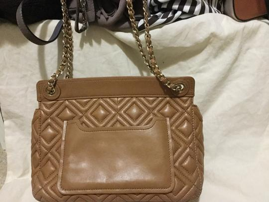 Tory Burch Leather Double Chain Quilted Leather Cross Body Bag