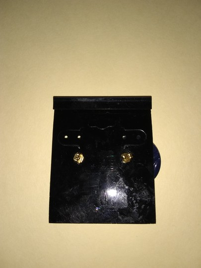 Unbranded Vintage Navy Blue Round Button Stud Earrings
