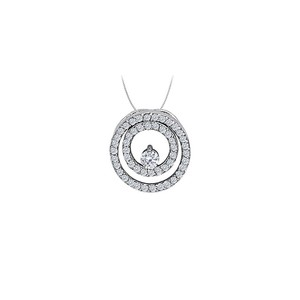 Marco B Cubic Zirconia Double Circle Pendant in Sterling Silver 0.50 CT TGWJew
