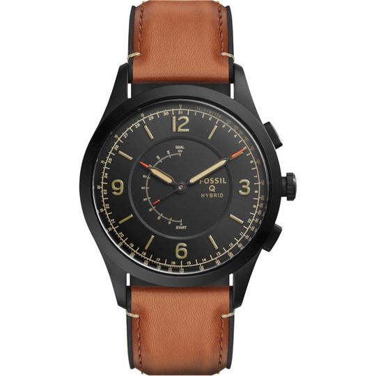 Fossil Fossil Q Gen 2 Men's Black / Brown Leather Strap Smart Watch FTW1206