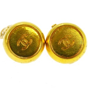 Chanel CHANEL Vintage CC Logos Gold-Tone Button Earrings Clip-On 5972