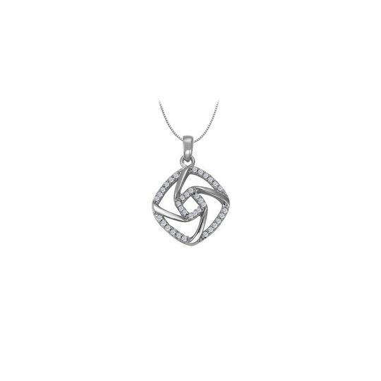 Marco B Cubic Zirconia Square Shaped Pendant in Sterling Silver 0.25 CT TGWPer