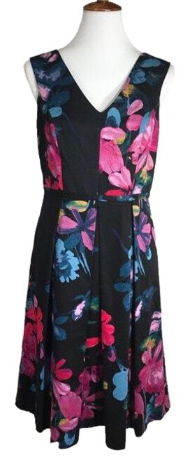Preload https://img-static.tradesy.com/item/23331153/adrianna-papell-black-pink-floral-pleated-fit-and-flare-mid-length-workoffice-dress-size-8-m-0-1-650-650.jpg
