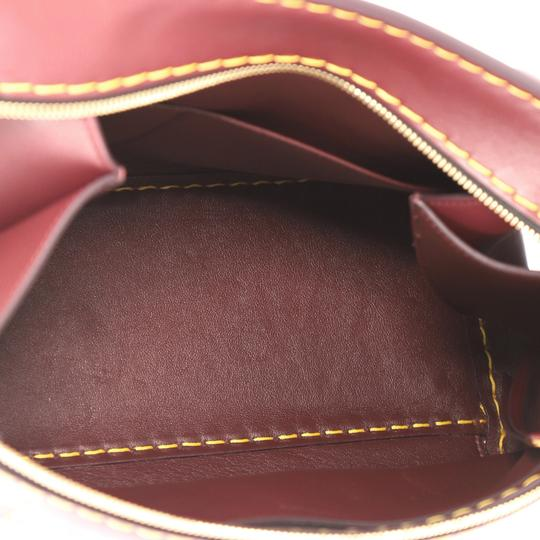 Céline Edge Leather Tote in Burgundy