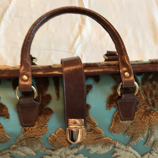 Glenda Gies Satchel in aqua, brown