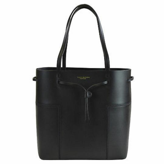 Tory Burch Leather Drawstring Shoulder Small Tote in Black