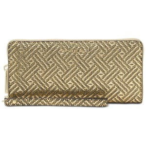 Michael Kors Gold Saffiano Leather Zip Around Large Travel Wallet Wristlet