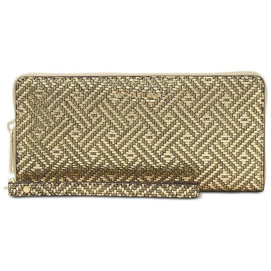 Preload https://item4.tradesy.com/images/michael-kors-gold-saffiano-leather-zip-around-large-travel-wristlet-wallet-23331298-0-0.jpg?width=440&height=440
