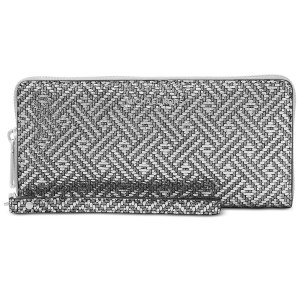 Michael Kors Pewter Silver Woven Leather Zip Around Large Travel Wallet Wristlet