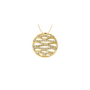 Marco B Cubic Zirconia Fancy Circle Fashion Pendant in Gold VermeilSilver 0.25