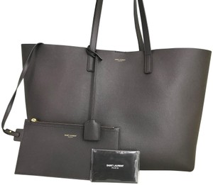 Saint Laurent Yves Leather Shopping Tote in Gray