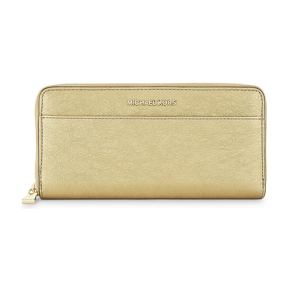 2bef2f8696aede Michael Kors Mercer Money Pieces Pocket Gold Metallic Leather Zip Around  Wallet Image 0 ...