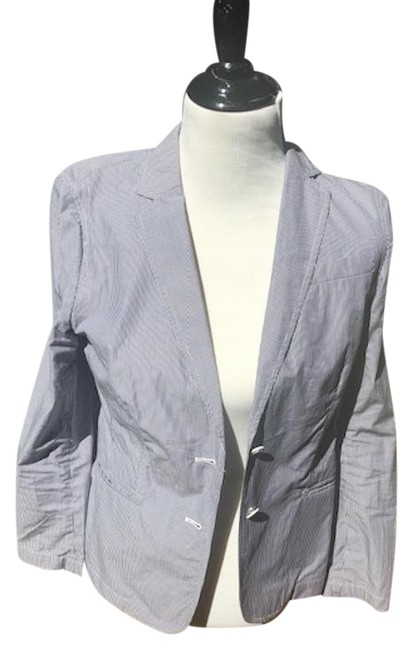 Preload https://item1.tradesy.com/images/banana-republic-navy-white-stripe-summer-weight-cotton-jacket-dress-up-or-down-skirt-suit-size-4-s-23331400-0-1.jpg?width=400&height=650