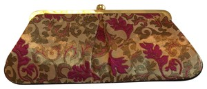Glenda Gies raspberry, wine, gold Clutch