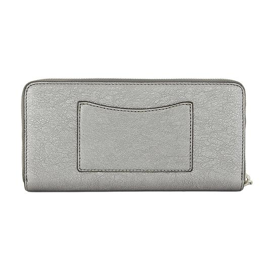 Michael Kors Mercer Money Pieces Pocket Pewter Metallic Leather Zip Around Wallet