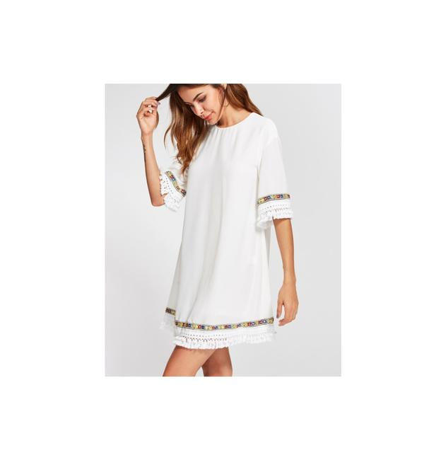 Preload https://img-static.tradesy.com/item/23331482/shein-white-embroidered-tape-and-knotted-fringe-detail-short-casual-dress-size-2-xs-0-0-650-650.jpg