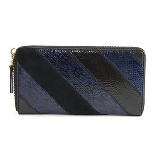Tory Burch Gemini Link Snakeskin Suede Patchwork Leather Zip Around Wallet