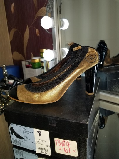 Chanel gold/black Pumps
