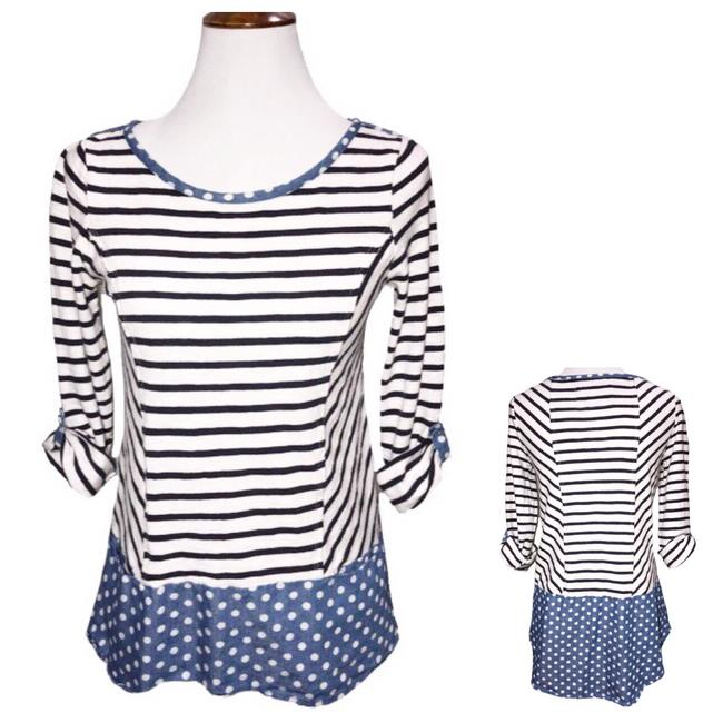 Preload https://item1.tradesy.com/images/anthropologie-blue-white-polka-dot-striped-high-tee-tunic-size-2-xs-23331570-0-0.jpg?width=400&height=650