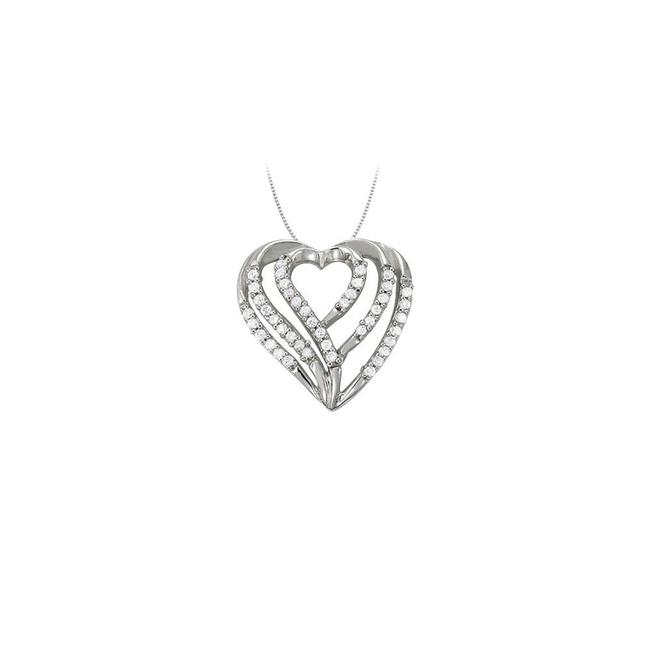 White Silver April Birthstone Cubic Zirconia Heart Pendant In Sterling 0.25 Necklace White Silver April Birthstone Cubic Zirconia Heart Pendant In Sterling 0.25 Necklace Image 1