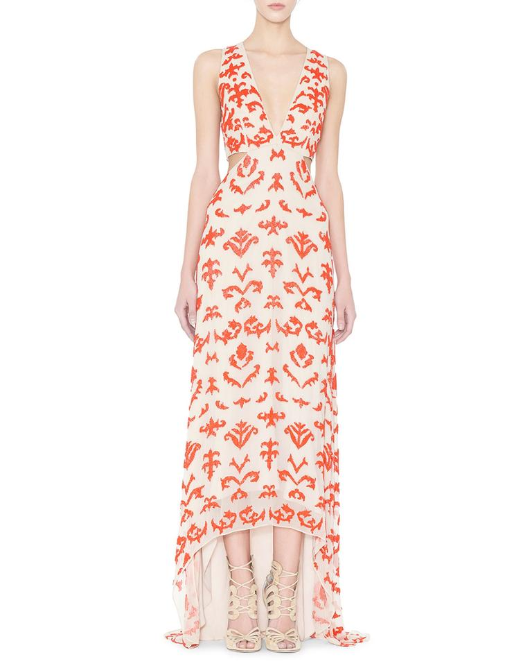 Alice Olivia Multi Colored Juela Beaded Cutout High Low Gown Night