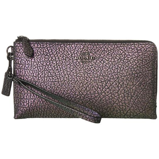 Coach 27400 Hologram Soft Leather Double Zip Large Wallet Wristlet