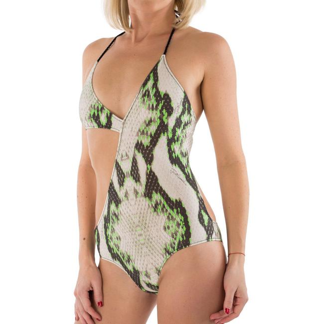 Just Cavalli New Women's Snake Print Asymmetric One Piece Swimsuit