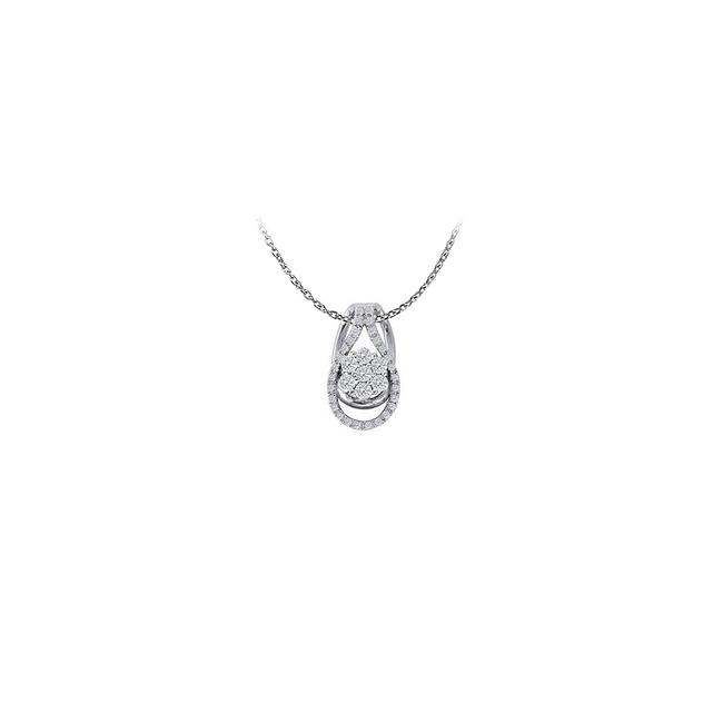 White Silver Nicely Designed Cubic Zirconia Pendant In 925 Sterling Availabl Necklace White Silver Nicely Designed Cubic Zirconia Pendant In 925 Sterling Availabl Necklace Image 1