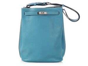Hermès Hr.p0320.10 Palladium Bleu So Kelly Shoulder Bag
