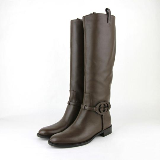 Gucci Leather Knee Interlocking Brown Boots