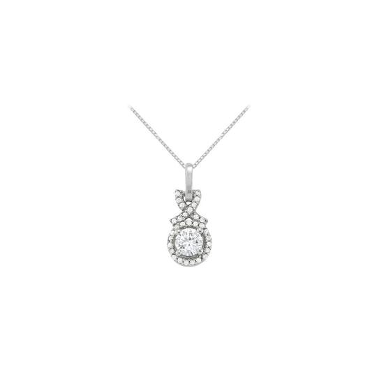 Marco B April Birthstone Cubic Zirconia Halo Pendant in 925 Sterling Silver