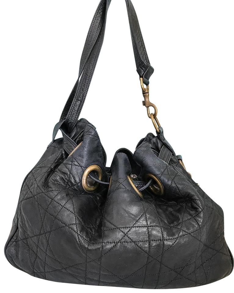 97f19f0cdfe0 Dior Quilted Cannage Bucket Black Leather Shoulder Bag - Tradesy