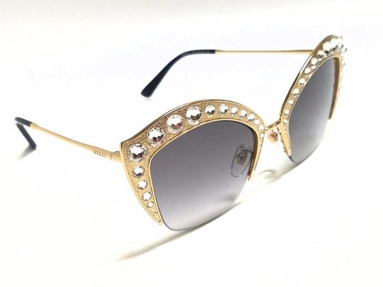 Gucci GUCCI GG0114S 001 Gold/Clear Stones/Grey Gradient Lens