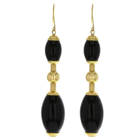 Faraone Mennella Tuca Tuca 18k Yellow Gold Black Onyx Earrings (14360)
