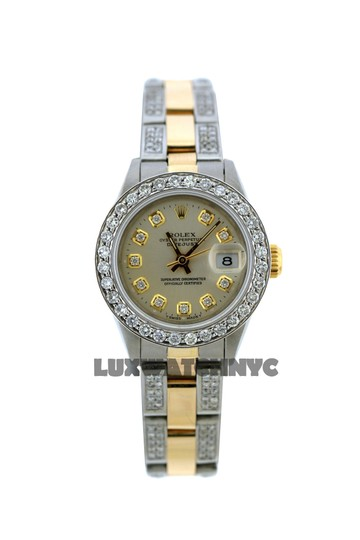 Rolex 2.9CT 26MM ROLEX DATEJUST GOLD S/S WATCH WITH ROLEX BOX & APPRAISAL