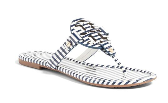 Tory Burch Navy & White Sandals