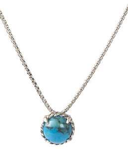 David Yurman Chatelaine Pendant Necklace with Cabochon Turquoise 8mm $350 NWOT